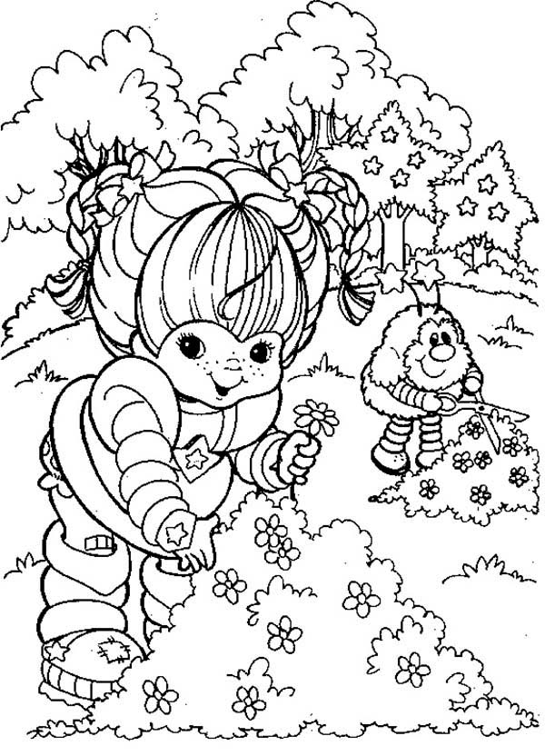 Rainbow Brite, : Rainbow Brite and Twink Picking Flower Coloring Page