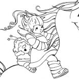 Rainbow Brite, Rainbow Brite And Twink Ride Beautiful Starlite Coloring Page: Rainbow Brite and Twink Ride Beautiful Starlite Coloring Page
