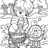 Rainbow Brite, Red Butler Give Twink Some Fruits Rainbow Brite Coloring Page: Red Butler Give Twink Some Fruits Rainbow Brite Coloring Page