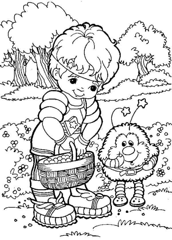 Rainbow Brite, : Red Butler Give Twink Some Fruits Rainbow Brite Coloring Page