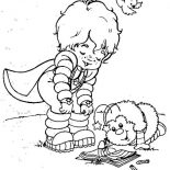 Rainbow Brite, Red Butler Read A Book With Twink In Rainbow Brite Coloring Page: Red Butler Read a Book with Twink in Rainbow Brite Coloring Page