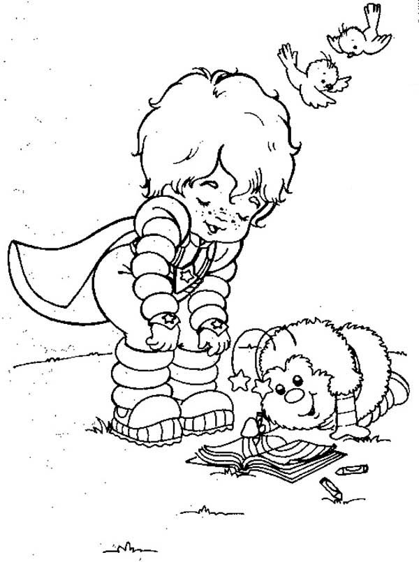 Rainbow Brite, : Red Butler Read a Book with Twink in Rainbow Brite Coloring Page