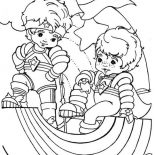 Rainbow Brite, Red Butler And Buddy Blue In Rainbow Brite Coloring Page: Red Butler and Buddy Blue in Rainbow Brite Coloring Page