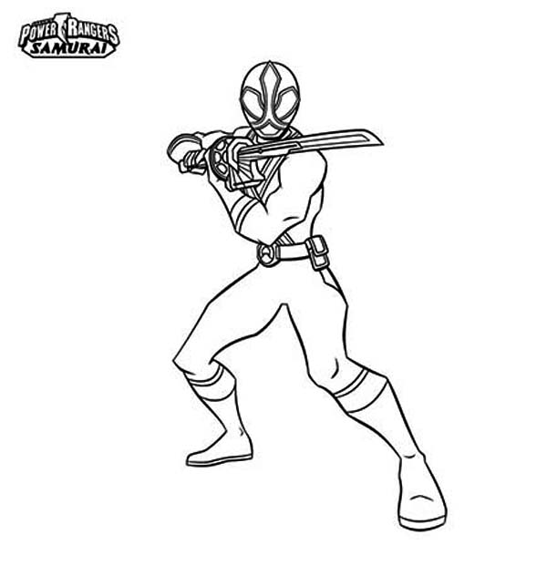 Power Rangers, : Red Ranger Hold Katana in Power Rangers Samurai Coloring Page