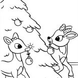 Rudolph, Rudolph And Clarice Decorated Christmas Tree Coloring Page: Rudolph and Clarice Decorated Christmas Tree Coloring Page