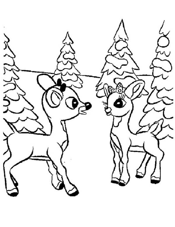 Rudolph, : Rudolph and Clarice Talking Coloring Page