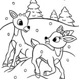 Rudolph, Rudolph And Clarice Are Santas The Reindeer Coloring Page: Rudolph and Clarice are Santas the Reindeer Coloring Page