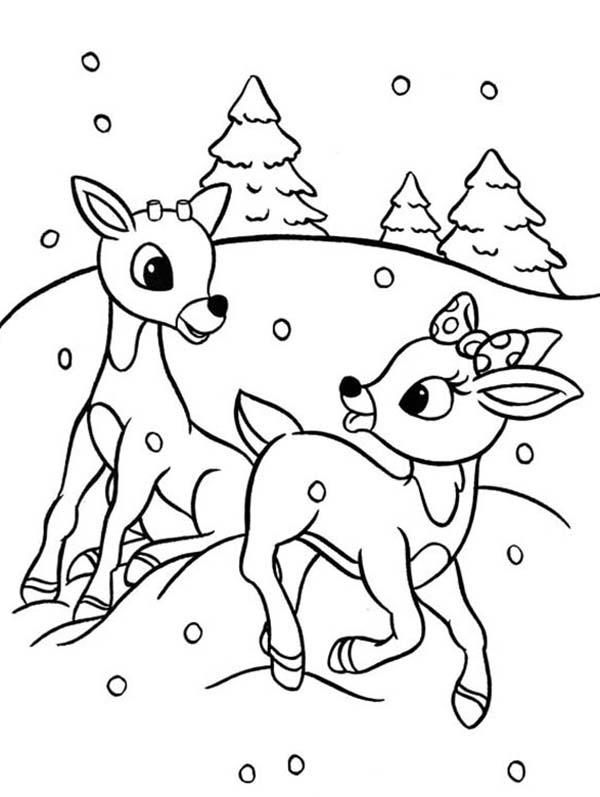 Rudolph and Clarice are Santas the Reindeer Coloring Page | Color Luna