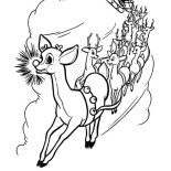 Rudolph, Rudolph And Friends Pull Santas Carriage Coloring Page: Rudolph and Friends Pull Santas Carriage Coloring Page