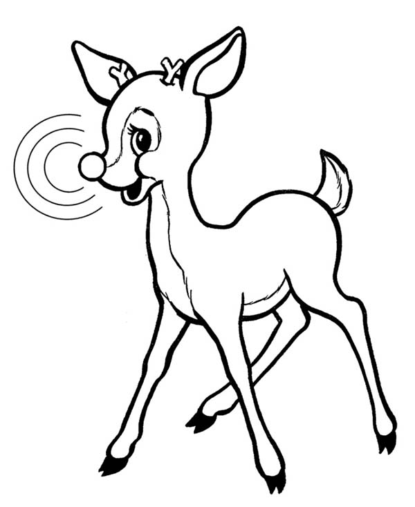 Rudolph, : Rudolph the Red Nosed Reindeer Coloring Page