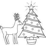 Rudolph, Rudolph The Red Nosed Reindeer And Christmas Tree Coloring Page: Rudolph the Red Nosed Reindeer and Christmas Tree Coloring Page