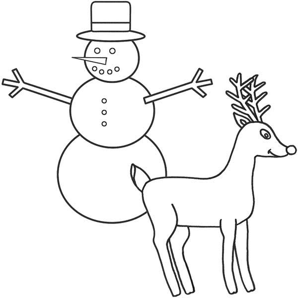 Rudolph, : Rudolph the Red Nosed Reindeer and Snowman Coloring Page
