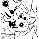 Rudolph, Rudolph The Red Nosed And Donner Coloring Page: Rudolph the Red Nosed and Donner Coloring Page