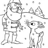 Rudolph, Santa Ask Rudolph The Red Nosed To Lead Other Reindeer Coloring Page: Santa Ask Rudolph the Red Nosed to Lead Other Reindeer Coloring Page