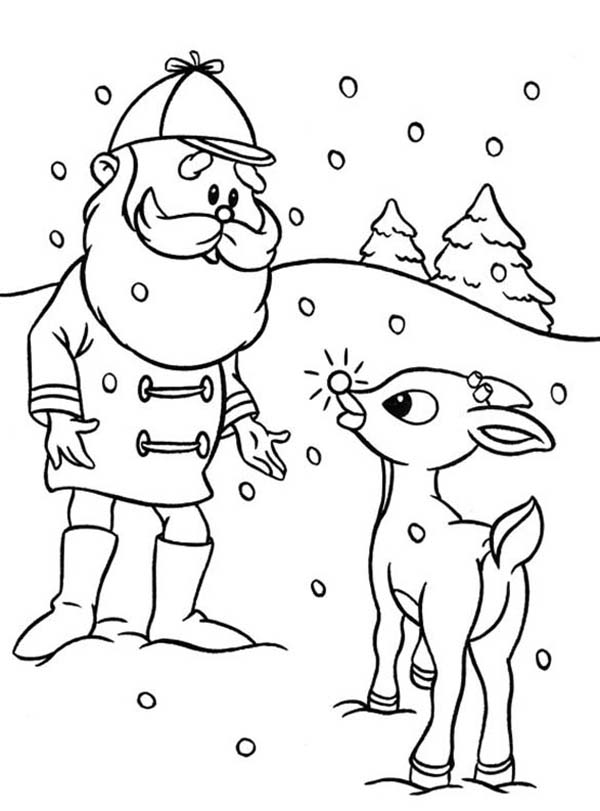 Rudolph, : Santa Ask Rudolph the Red Nosed to Lead Other Reindeer Coloring Page