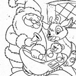 Rudolph, Santa Claus And Rudolph Picking Christmas Present For Kids Coloring Page: Santa Claus and Rudolph Picking Christmas Present for Kids Coloring Page