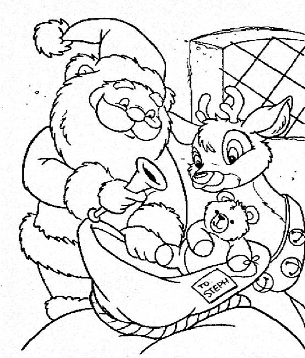 Rudolph, : Santa Claus and Rudolph Picking Christmas Present for Kids Coloring Page