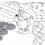 Parable of the Sower, Scattering Seed Into Rock Places In Parable Of The Sower Coloring Page: Scattering Seed into Rock Places in Parable of the Sower Coloring Page