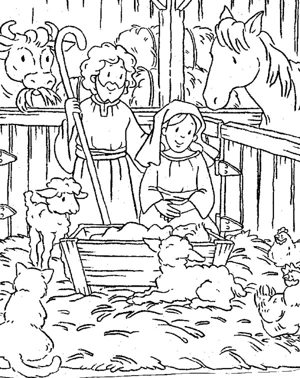 Nativity, : Scene of Nativity Coloring Page