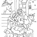 Nativity, Scenery Of Nativity In Jesus Christ Coloring Page: Scenery of Nativity in Jesus Christ Coloring Page