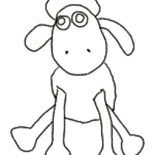 Shaun the Sheep, Shaun The Sheep Outline Coloring Page: Shaun the Sheep Outline Coloring Page