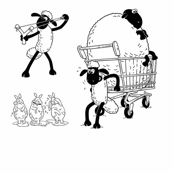 Shaun the Sheep, : Shaun the Sheep Pulling Cart Coloring Page
