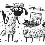 Shaun the Sheep, Shaun The Sheep Typing With Notebook Coloring Page: Shaun the Sheep Typing with Notebook Coloring Page
