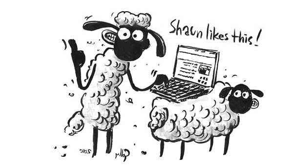 Shaun the Sheep, : Shaun the Sheep Typing with Notebook Coloring Page