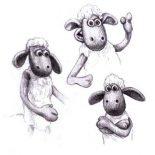 Shaun the Sheep, Shaun The Sheep Various Gesture Coloring Page: Shaun the Sheep Various Gesture Coloring Page