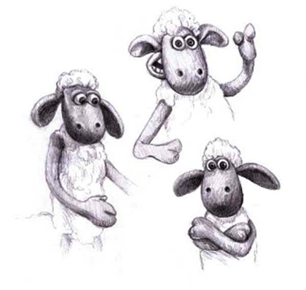 Shaun the Sheep, : Shaun the Sheep Various Gesture Coloring Page