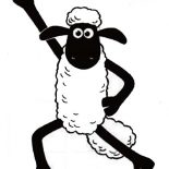 Shaun the Sheep, Shaun The Sheep Winning Pose Coloring Page: Shaun the Sheep Winning Pose Coloring Page