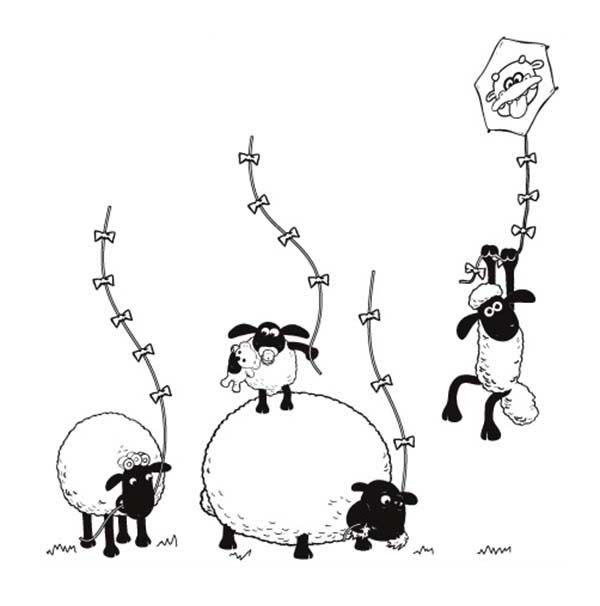 Shaun the Sheep, : Shaun the Sheep and All Flock Play Together Coloring Page