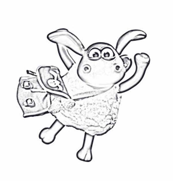 Shaun the Sheep, : Shaun the Sheep with New Bag Coloring Page