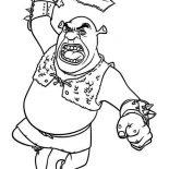 Shrek, Shrek Swing His Sword Coloring Page: Shrek Swing His Sword Coloring Page