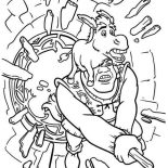 Shrek, Shrek And Donkey Break Through Glass Window Coloring Page: Shrek and Donkey Break Through Glass Window Coloring Page
