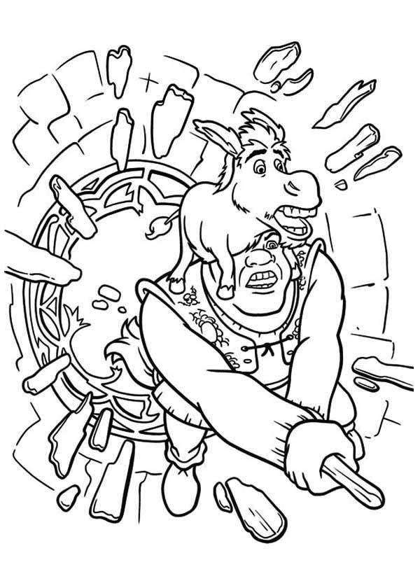 Shrek, : Shrek and Donkey Break Through Glass Window Coloring Page