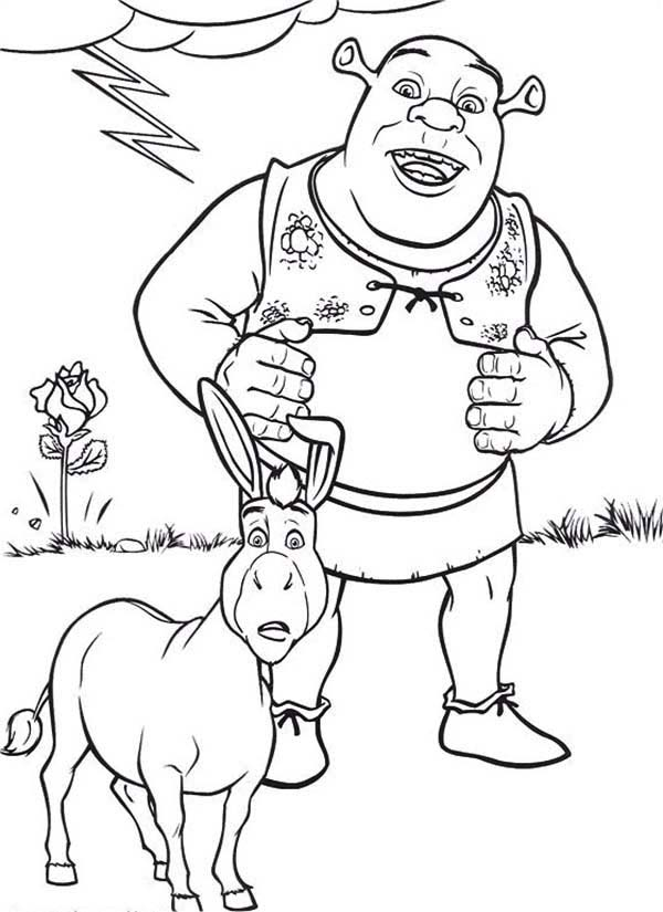 Shrek, : Shrek and Donkey are Amazed Coloring Page