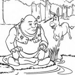 Shrek, Shrek And Donkey At Side Of Lake Coloring Page: Shrek and Donkey at Side of Lake Coloring Page