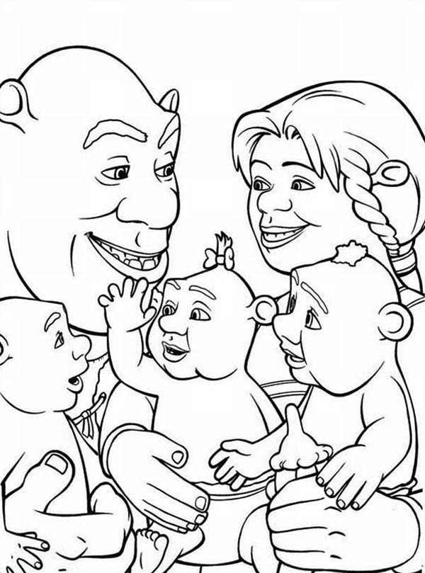 Shrek, : Shrek and Family Coloring Page