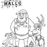 Shrek, Shrek And Friends On Christmas Coloring Page: Shrek and Friends on Christmas Coloring Page