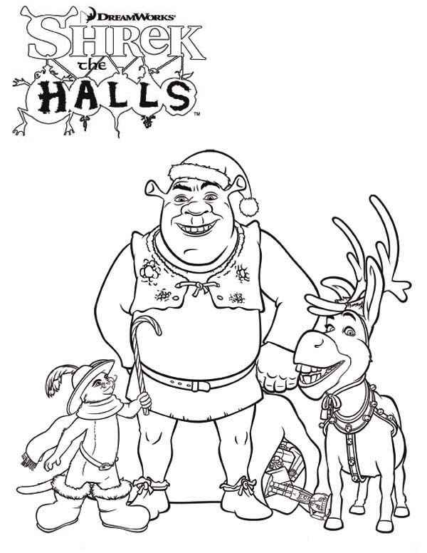 Shrek, : Shrek and Friends on Christmas Coloring Page