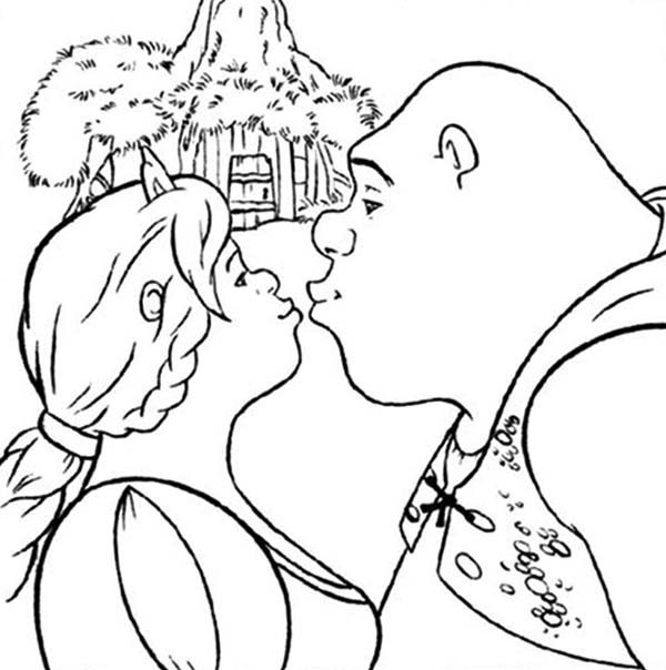 Shrek, : Shrek and Princess Fiona Kissing Coloring Page