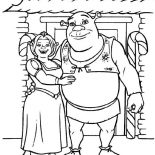 Shrek, Shrek And Princess Fiona In Front Of Their House Coloring Page: Shrek and Princess Fiona in Front of Their House Coloring Page