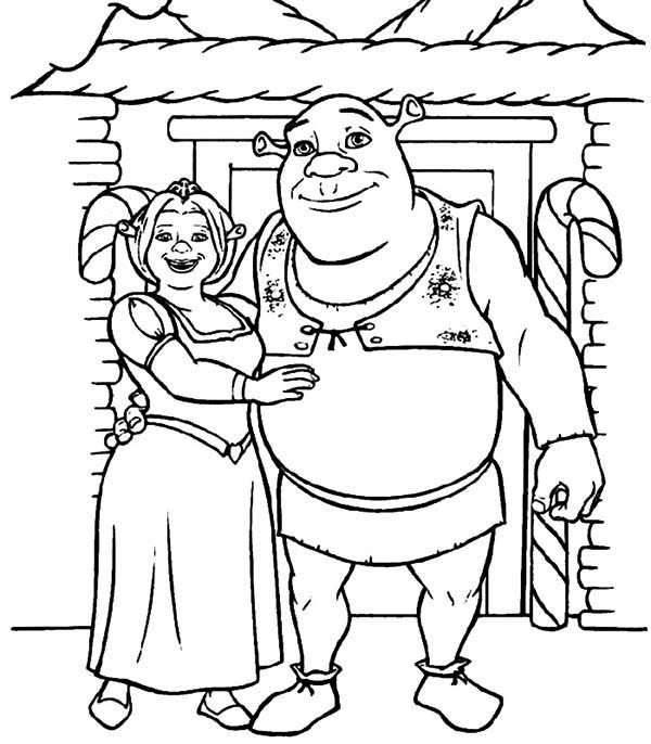 Shrek, : Shrek and Princess Fiona in Front of Their House Coloring Page