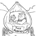 Shrek, Shrek And Princess Fiona In Onion Carriage They Were Just Married Coloring Page: Shrek and Princess Fiona in Onion Carriage They Were Just Married Coloring Page