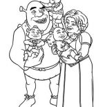 Shrek, Shrek And Princess Fione With Their Babies Coloring Page: Shrek and Princess Fione with Their Babies Coloring Page
