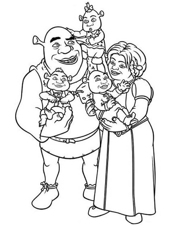 Shrek, : Shrek and Princess Fione with Their Babies Coloring Page