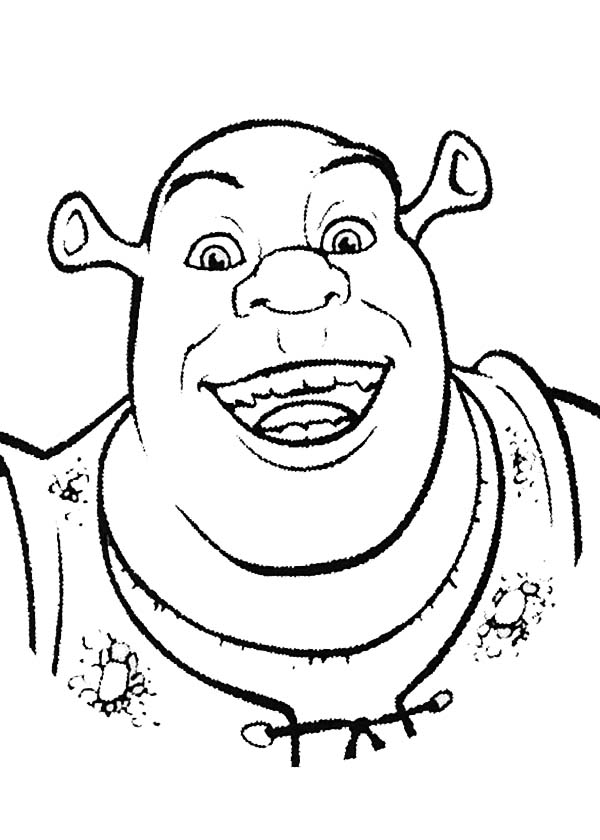 Shrek, : Shrek is Smiling Coloring Page