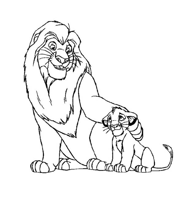 Lion, : Simba and His Father Mufasa in the Lion King Movie Coloring Page