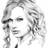 Taylor Swift, Sketching Taylor Swift Coloring Page: Sketching Taylor Swift Coloring Page